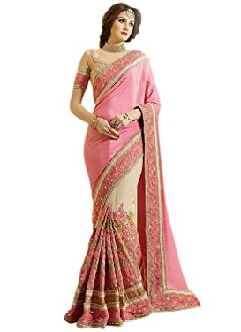 Nivah Fashion Women's Satin & Net Embroidery Work Saree with Blouse Piece (K663-Peach)
