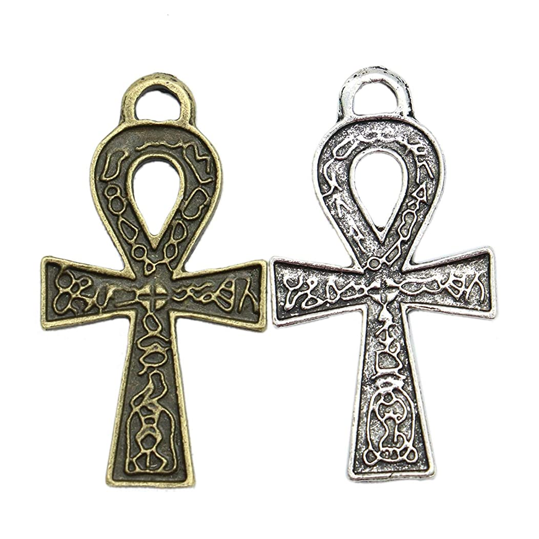 Monrocco 40pcs Egyptian Ankh Cross Charm Pendant Bulk for Jewelry Crafting Bracelet and Necklace Making