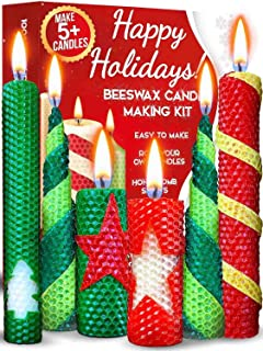 Christmas Candle Making Kit Beeswax - Candle Making Supplies DIY Kit with Creative How-to Instructions – Perfect for Hanukkah Christmas Gifts as Candle Making Kits for Adults or Christmas Crafts