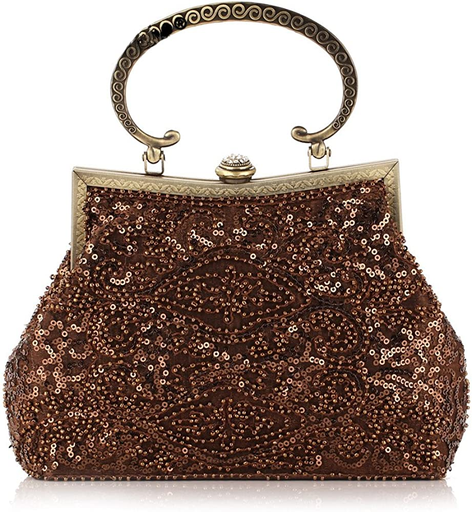 Womens Gorgeous Beaded and Sequined Evening Clutch Purse Bag with Chain Handle Wedding Bridal Prom Party Handbag