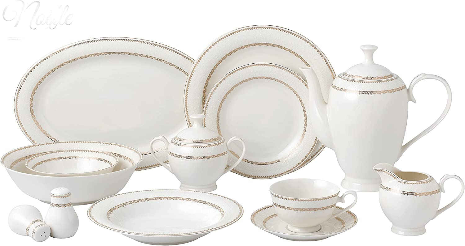 57 Piece Dinnerware Set-Bone China People-Noelle 2021 Service 5% OFF for 8