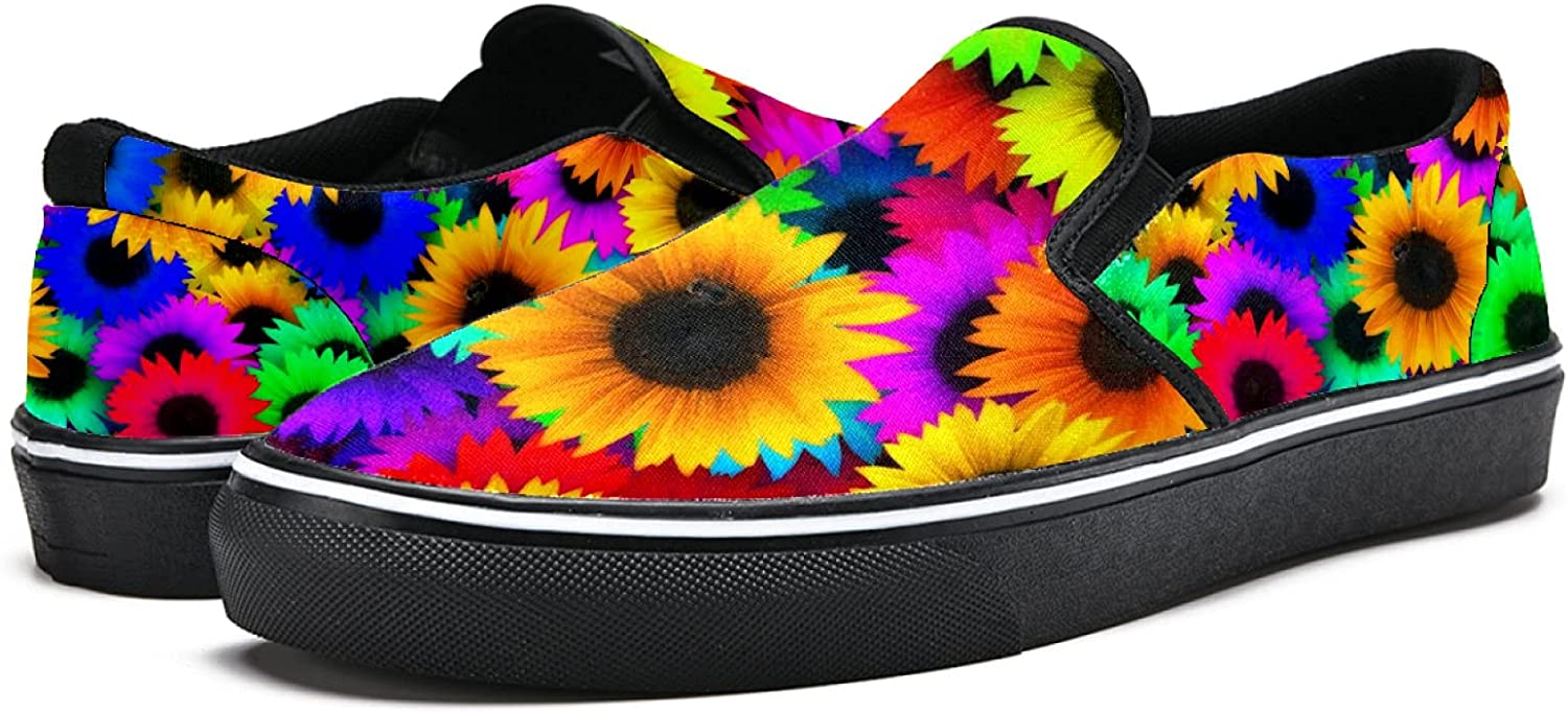Men's Classic Slip-on Canvas Shoe Fashion Sneaker Casual Walking Shoes Loafers 12 Colorful Sunflower