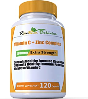 RaeSun Botanics High Dose Vitamin C + Zinc Complex for Immune Support Health 120 Capsule 2 Month Supply Vegetable Capsule ...