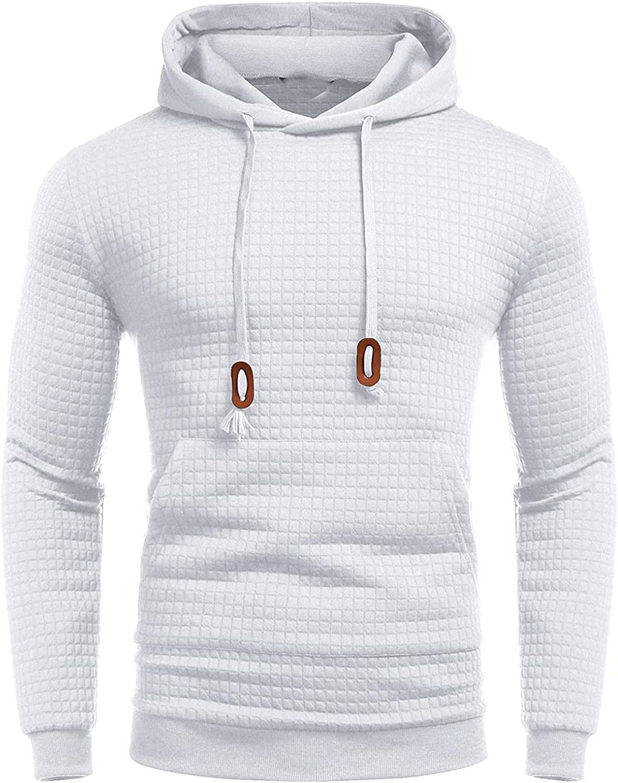 LEIYAN Mens Waffle Hoodie Pullover Casual Drawstring Slim Fit Sweatshirt Athletic Running Jogging Pullover