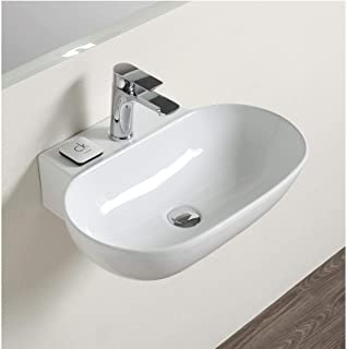 Ceramic Wall Mounted/Wall Mount/Wall Hung Wash Basin Bathroom Porcelain Vessel Sink Above Counter Countertop Bowl Sink for Lavatory Vanity Cabinet Contemporary Style 60 x 42 x 15 Cm White