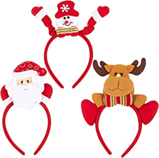 3-Pack Christmas Headbands - Holiday Headband Set, Plastic Novelty Christmas Accessories for Parties, Family Gatherings,3 Assorted Designs, Red