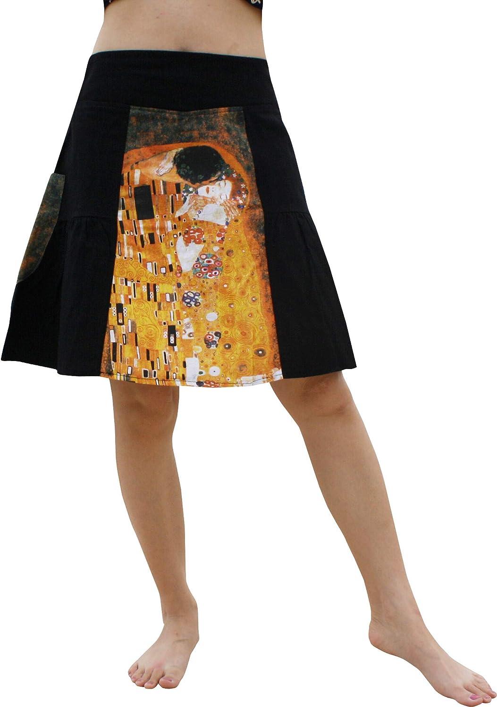 RaanPahMuang Panel Pleated Skirt  Gustav Klimt  The Kiss Brown