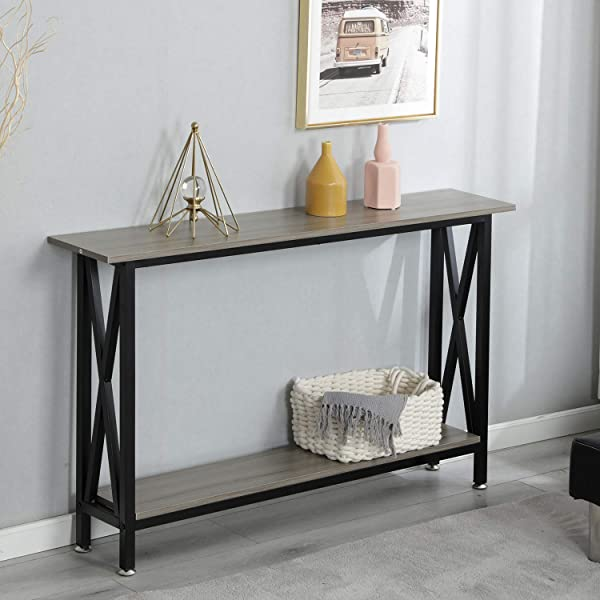 SogesPower Console Table Sofa Entry Table With Shelf For Living Room Entryway Grey SPDX 125 SW