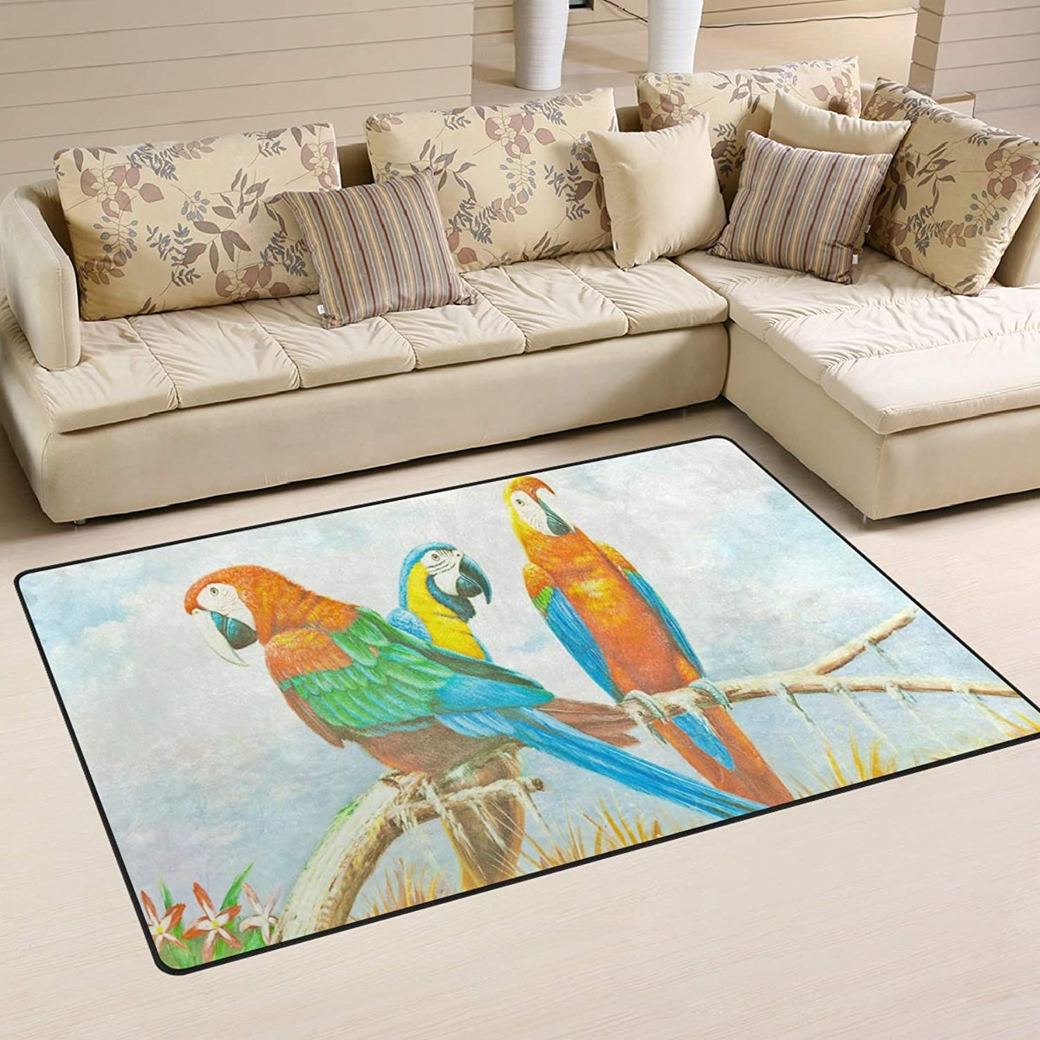 Area Rugs Doormats Painting colorful Macaw Parred 5'x3'3 (60x39 Inches) Non-Slip Floor Mat Soft Carpet for Living Dining Bedroom Home