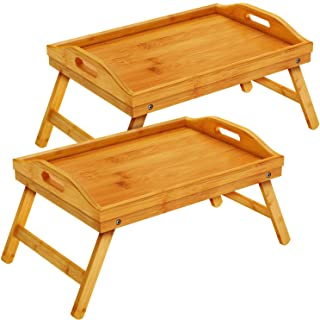 pipishell bamboo bed tray table with foldable legs, breakfast tray with handles, ideal for kids,