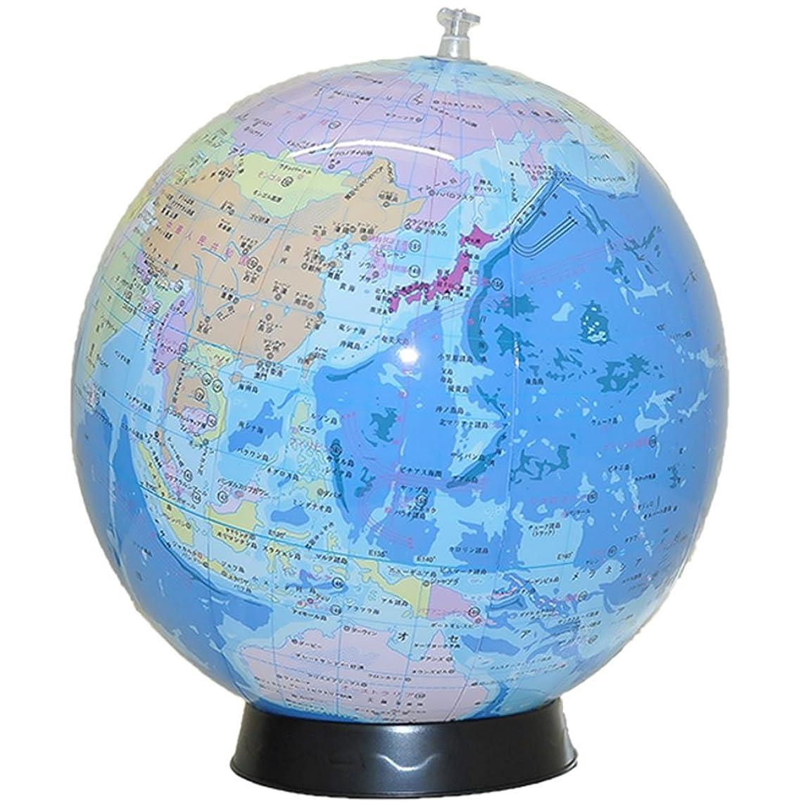 ちっちゃい不承認絶滅した置き場所に困らない 日本語表記のビーチボール地球儀 球径30cm 台座&世界の国旗ポスター付