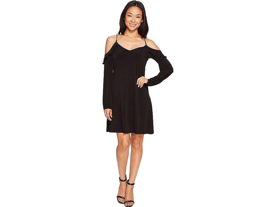 MICHAEL Michael Kors Cold Shoulder Chainstrap Dress (Black) Women