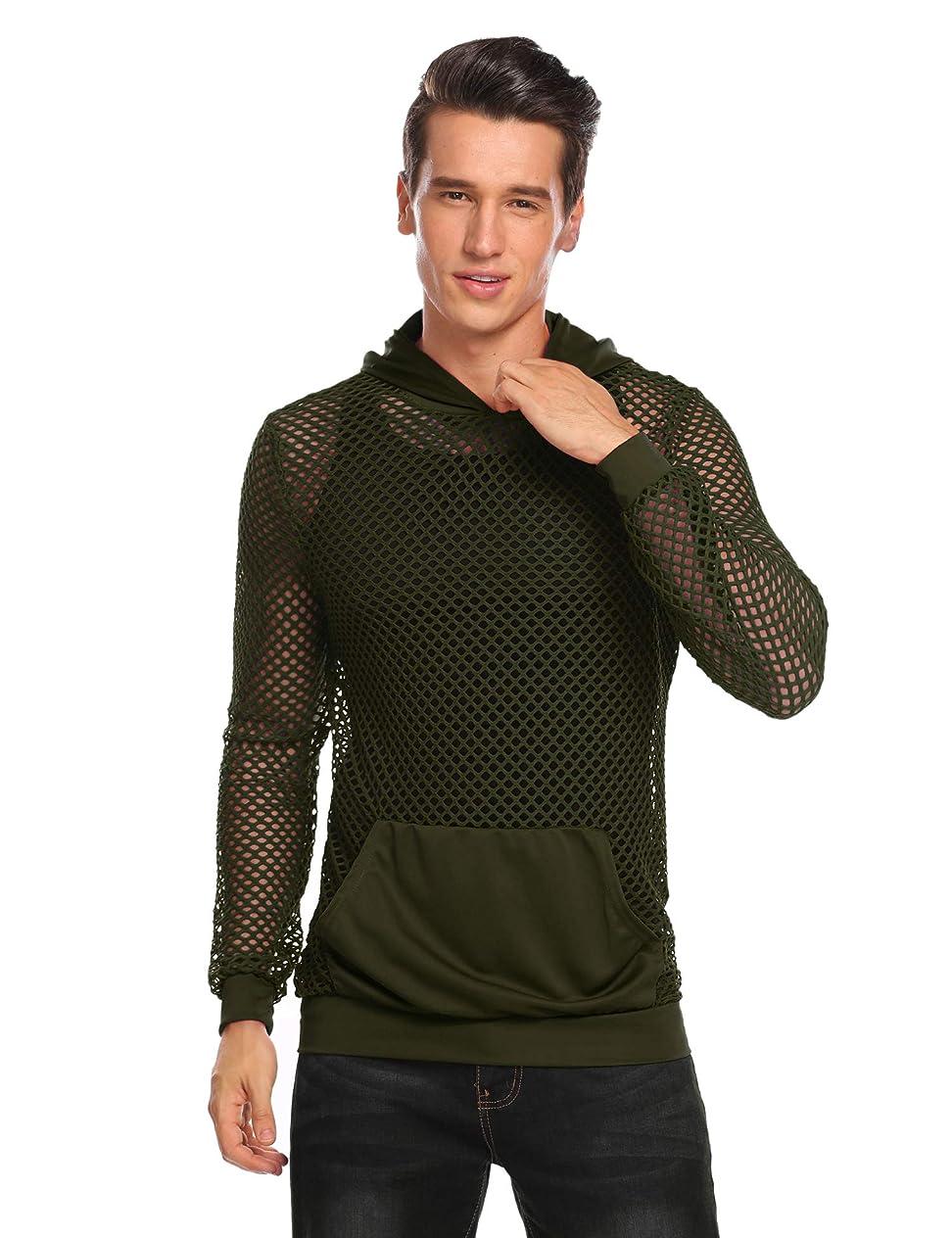COOFANDY Mens Workout Tank Fishnet Muscle See Through T Shirt Sexy Mesh Transparent Tees Top drttrsmq468