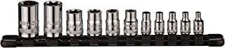 ARES 70261 - External Torx Socket Set - 11-Piece Set Includes 1/4-Inch, 3/8-Inch and 1/2-Inch Drive E4 to E20 Sockets - Set Comes Complete with Convenient Socket Storage Rail