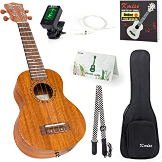 Kmise Left Hand Ukulele Soprano Mahogany ukalele 21 Inch Uke with Gig Bag Tuner Strap String Instruction Booklet for left ...