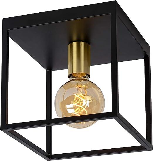 Lucide Flush Ceiling Light Metal E27 40 W Black Satin Brass Amazon Co Uk Lighting
