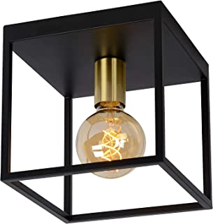 Lucide 00124/01/30 - Plafón de techo (metal, 40 W, color negro y dorado mate)
