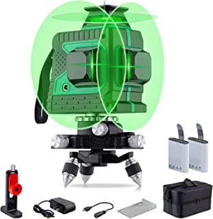 Sponsored Ad – Laser Level Green 3D Green Beam Laser Lines 3 * 360 Cross Line Rechargeable 12 Lines Self Leveling Leveler ...
