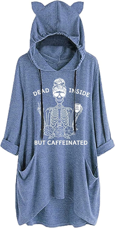 YourTops Dead Inside But Caffeinated Sunflower Women Long Sleeve Hoodies Skull Shirt for Women