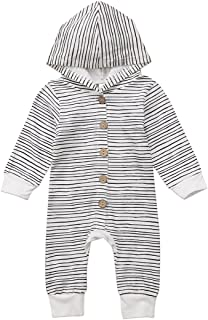 Unisex Baby Boys Girls Long Sleeve Button-Down Striped Hoodie Romper Winter Warm Jumpsuit Outfit Clothing Set