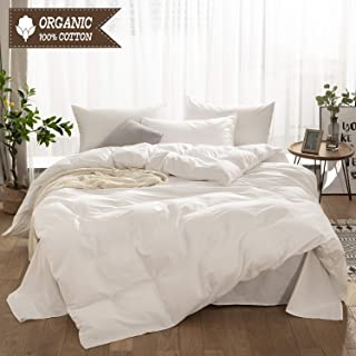 LyTble 3 Pieces Solid Color Ivory White Long Staple Cotton Duvet Cover Queen Size Soft Breathable Bedding Set with Zipper Ties (Ivory White, Queen)