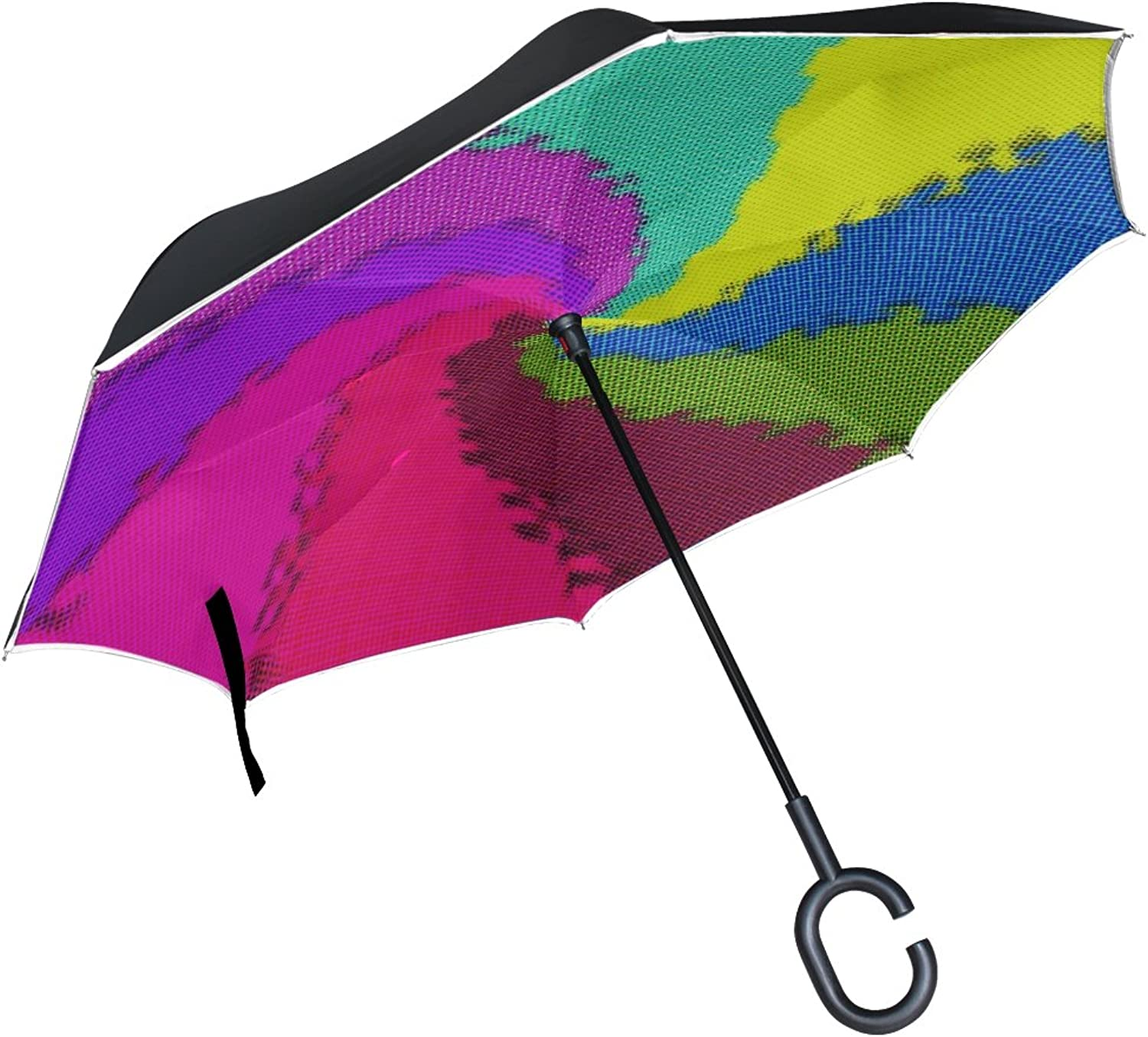 Double Layer Ingreened Art Abstract Pattern color Creativity Artistic Umbrellas Reverse Folding Umbrella Windproof Uv Predection Big Straight Umbrella for Car Rain Outdoor with CShaped Handle