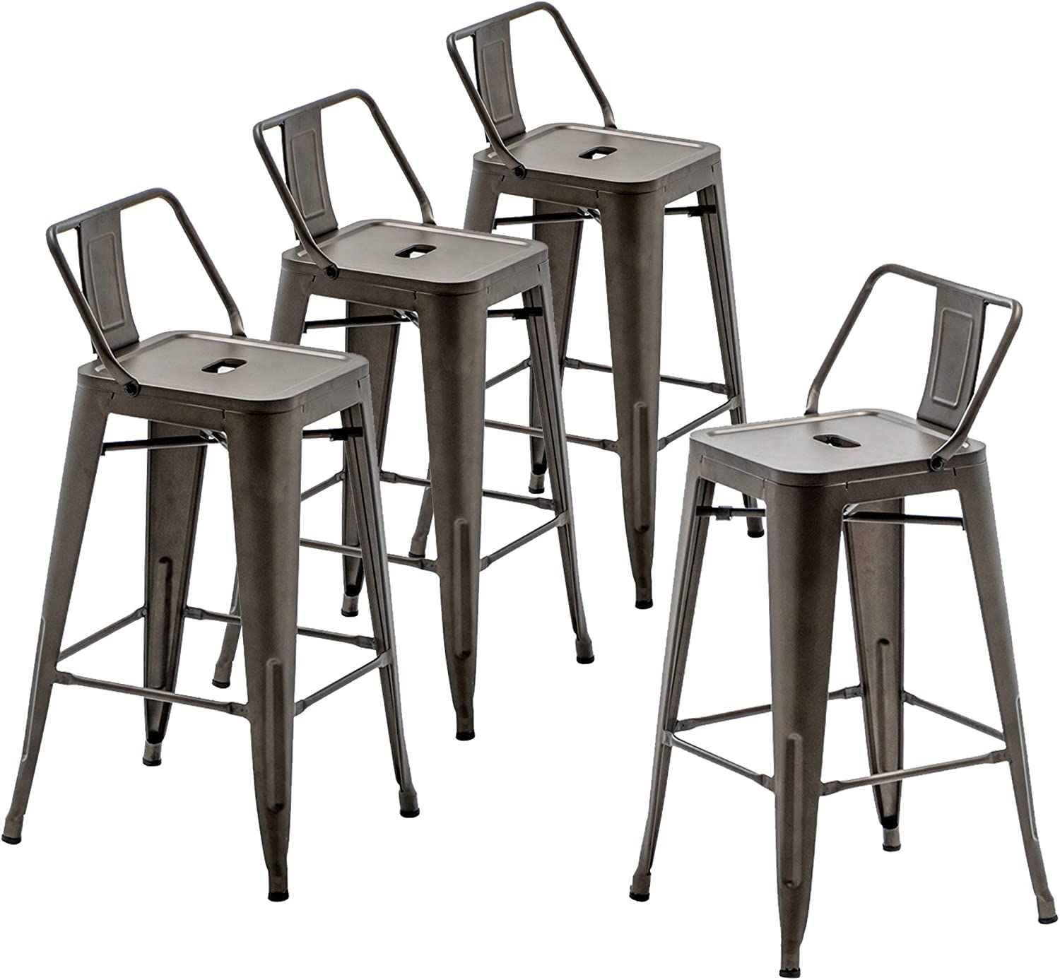 9 inch Metal Barstools Set of 9 Indoor Outdoor Bar Stools with Back  Kitchen Dining Counter Stools Bar Chairs Rusty