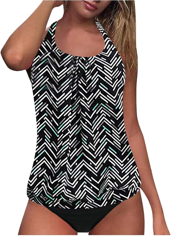 2 Piece Swimwear Women Plus Size Swimsuit Tummy Control Top with Shorts Tankinis Set Swim Wear Print Bathing Suit 2021
