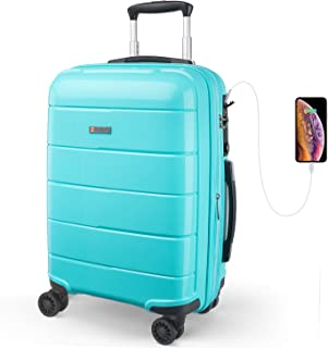 REYLEO Expandable Luggage 20 Inch PP Carry on Luggage Travel Suitcase with USB Charging Port Built-in TSA Lock 8 Silent Spinner Wheels Side Handle, Blue