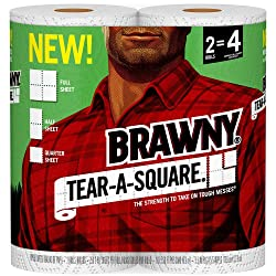 Brawny Tear-A-Square Paper Towels, 2 Rolls, 2 = 4 Regular Rolls, 3 Sheet Size Options