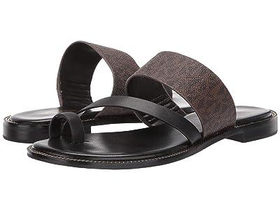 MICHAEL Michael Kors Pratt Flat Sandal (Brown/Black) Women