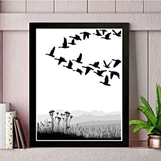 22yiihannz Mountains Art Wall Painting - Monochrome Silhouette of Flying Geese in Greyscale Background- Unique Home Decor with Photo Frames.Modern Printing process-14x11in