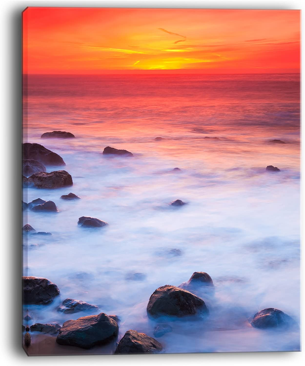 Designart Bright Red Rocky Coast Sunset Extra Large Seashore Canvas Art 28x36 3 Piece 28 H X 36 W X 1 D 3p Blue Home Kitchen