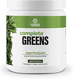Complete Wellness Complete Greens (Apple Cinnamon, 30 Serv) - Organic Greens & Fruits Complex with Digestive Enzyme Complex