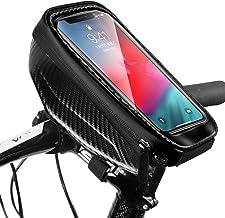 Snowpea Fietsframetas, waterdicht, fietstas, stuurtas, bovenbuistas, fiets, telefoonhouder met koptelefoongat voor smartph...