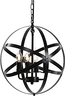 "Lika 4-Light Chandelier 15.7"" Farmhouse Rustic Industrial Pendant Lighting with Metal Spherical Shade Black Chandeliers for Dining Room, Kitchen, Foyer"