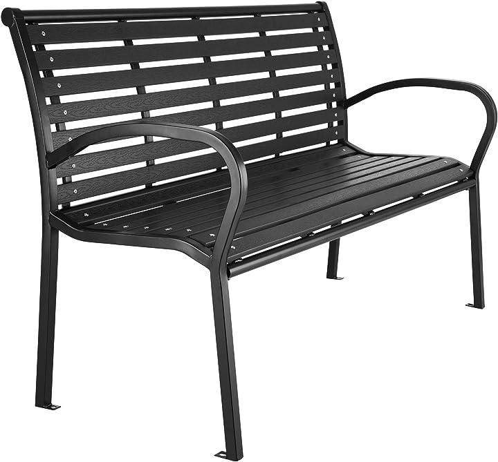 Panca da giardino, panchina per parco, acciaio verniciato, nera, 126 x 62 x 81,5cm 403213