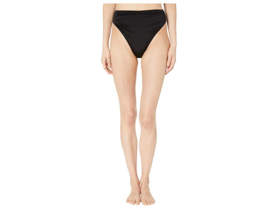 Stella McCartney Ballet Draped High-Waist Bikini Bottoms (Black/Cream) Women