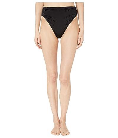 Stella McCartney Ballet Draped High-Waist Bikini Bottoms (Black/Cream) Women