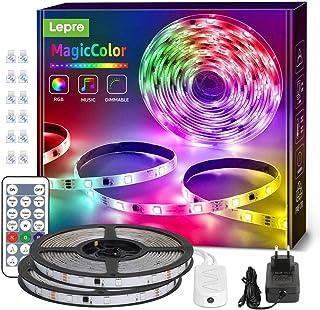 RGBIC LED Strip 10M(2x5M), Lepro 300 LEDs Streifen Dreamcolor, Lichterkette MagicColor, Musik Band mit Fernbedienung, Lich...
