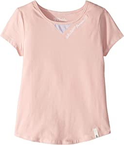 Embroidered Tee with Peekaboo Cut Out (Big Kids)