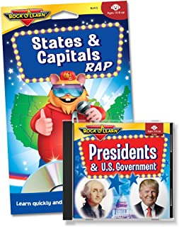 ROCK N LEARN Social Studies Audio CD & Book Set - States & Capitals Rap and Presidents & U.S. Government