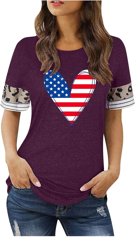 Fashion Womens Ranking TOP18 Cheap mail order sales Stripe Leopard T-Shirts Casual O-Neck Sleev Short