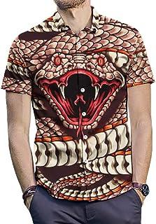 OTW Men's Short Sleeve 3D Print Plus Size Turn Down Collar Vogue Cobra Button Down Blouse Shirts