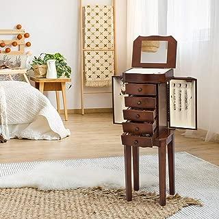 GentleShower Cabinet with Mirror Jewellery Box Organizer Wooden Jewelry Storage Armoire Hanging 5 Drawer, Brown