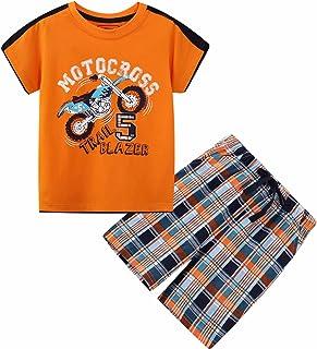 Deachala طفل ملابس قطنية ملابس أطفال الصيف ملابس قصيرة الأكمام مجموعات الدراجات النارية الحجم 5T