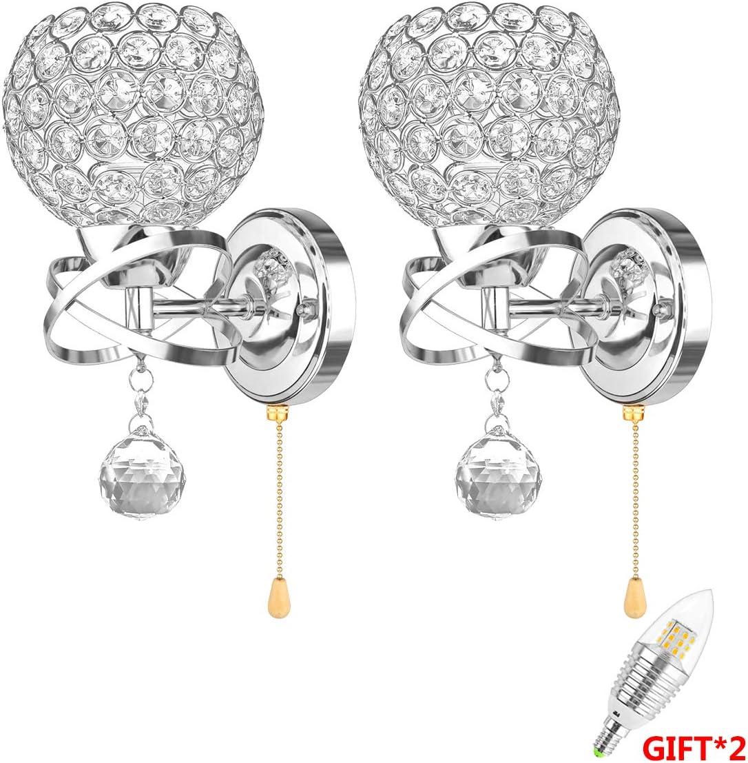 ONEVER 2 Pack Crystal Wall Polished [Alternative dealer] LED Now on sale Sconce Lamp Modern