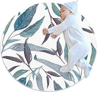 Blåbruna blad, barn rund matta polyester överkast matta mjuk pedagogisk tvättbar matta barnkammare tipi tält lekmatta