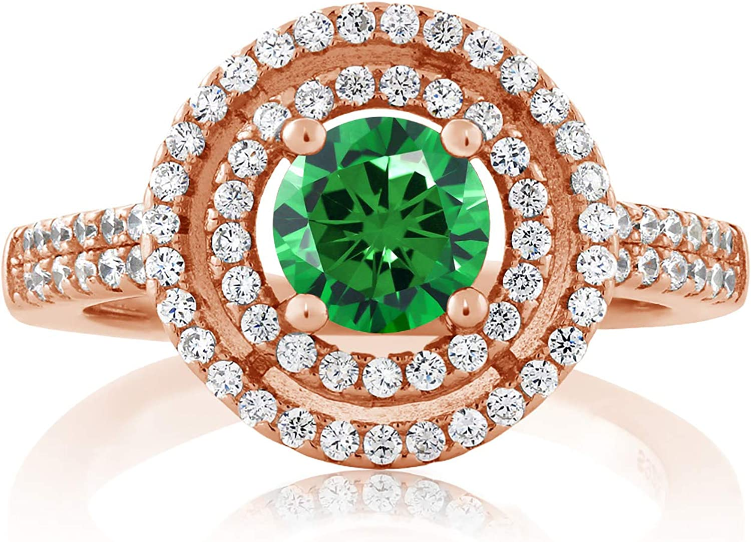 Gem Stone King 2.46 Ct discount Round Zirconia low-pricing 18K Gold Plated Green Rose