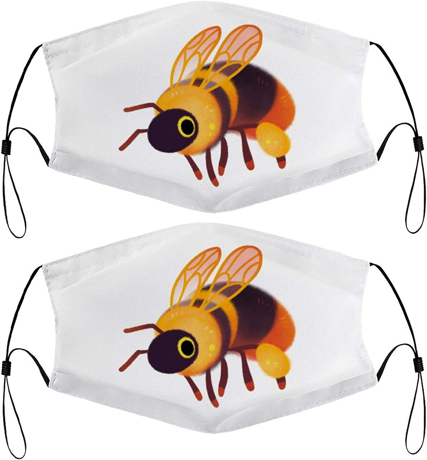 Redtail Honeybee Kids Face Masks Set of 2 with 4 Filters Washable Reusable Breathable Black Cloth Bandanas Scarf for Unisex Boys Girls